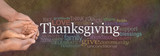 Fototapety Thanksgiving Word Cloud Website Banner - Female cupped hands cradled by male hands outstretched with a white 'Thanksgiving' word floating above and relevant word cloud on a stone effect background