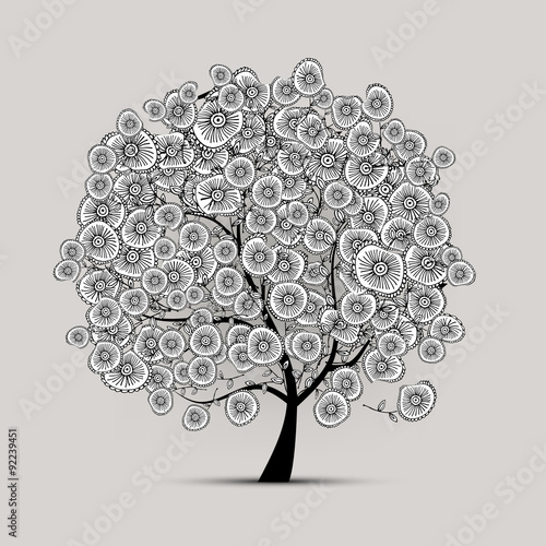 Panel Szklany Floral tree for your design