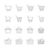 shopping cart & basket icons set