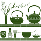 Fototapety Plain coloured accessories for matcha tea time