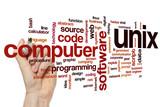 Unix word cloud concept poster
