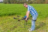 Technician calibrating multicopter compass pilot aviation poster