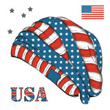 hippie hat with American flag. USA. Headgear hand-drawn sketch. Vector illustration