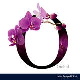 Fototapety Letter O vector alphabet with orchid flower. ABC concept type as