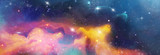 Fototapeta Space - color space backround banner with star, nebula und galaxies © reichdernatur