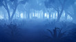 Misty night forest with fern thickets on foreground