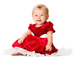 Baby Girl in Christmas Dress Isolated on White Background