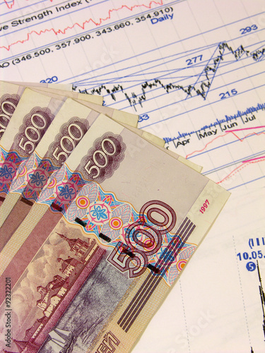 Poster Russian banknotes and stock prices