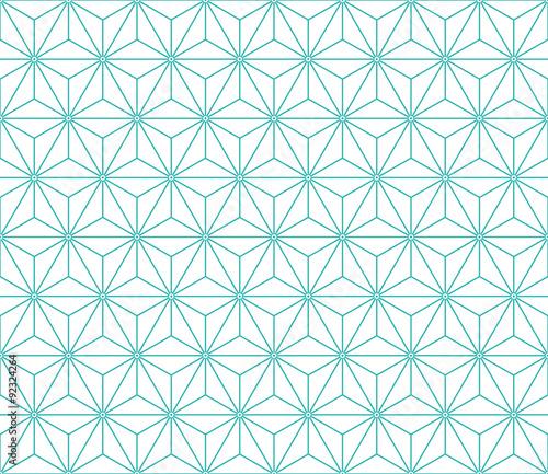 Fototapeta Seamless mint and white vintage japanese asanoha isometric pattern vector