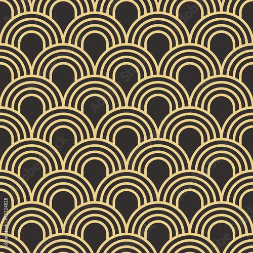 Naklejka Seamless antique palette simple art deco wave scales pattern vector