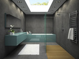 Fototapety Interior of bathroom with ceiling window 3D rendering 4