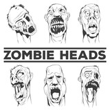 Zombie heads vector illustrations