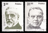 POLAND - CIRCA 1982: A set of postage stamps printed in the Poland, shows Nobel laureates, circa 1982 poster