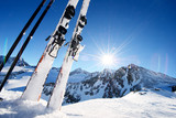 Ski equipment in high mountains in snow at winter - 92341654
