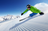 Skier on pise in high mountains - 92341693