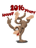 Funny monkey symbol of 2016, illustration, vector