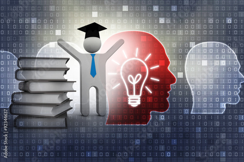 Poster 3d people - human character person with books and graduation cap
