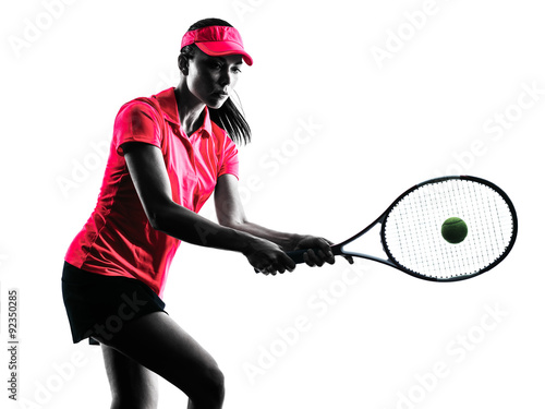 Obraz na plátně woman tennis player sadness silhouette