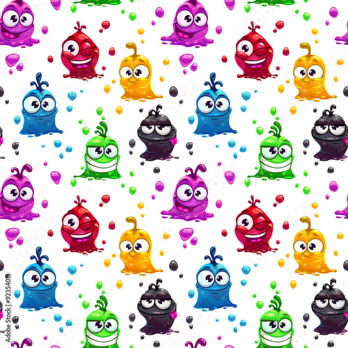 Tapeta ścienna na wymiar Seamless pattern with funny jelly characters
