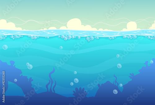 Foto op Canvas Turkoois Underwater seamless landscape