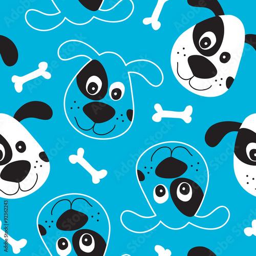 Cotton fabric seamless dog pattern vector illustration