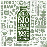 Set of organic labels and icons for natural bio food products