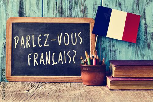 Fototapeta samoprzylepna question parlez-vous francais? do you speak french?