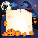 halloween pozadí s pergamen kloboukem a dýně