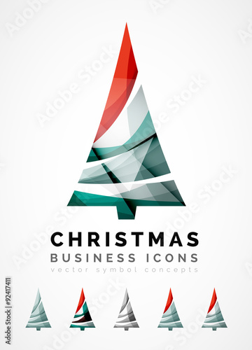 In de dag Retro sign Set of abstract Christmas Tree Icons, business logo concepts