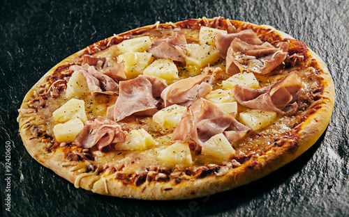 Tropical pineapple with ham and mozzarella pizza