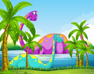 Dinosaur having fun in the lake