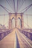 Vintage toned photo of Brooklyn Bridge, NYC, USA.