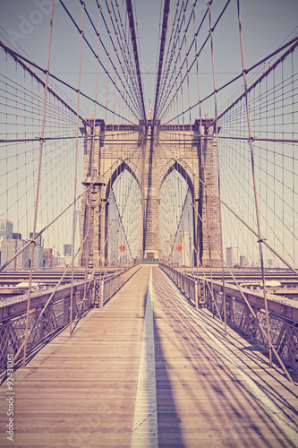 Vintage toned photo of Brooklyn Bridge, NYC, USA. - 92431061