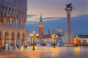 Venice. Image of St. Mark's square in Venice during sunrise.