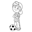 Coloring Page Outline Of a Boy with a soccer ball