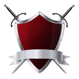 Metallic glittering red shield and two swords with ribbon