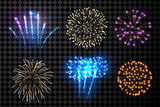 Fototapety Festive fireworks set.
