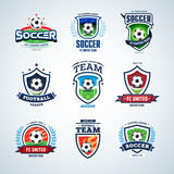 Fototapety Soccer logo templates mega set. Football logo. Set of soccer football crests and logo template emblem designs, logotypes design concepts of football icons. Collection of Soccer Themed T shirt Graphics