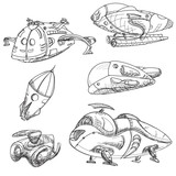 futuristic flying ships sketch. Vector fantastic objects