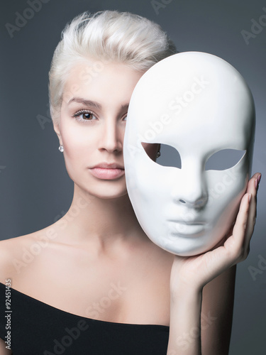 blond lady with mask