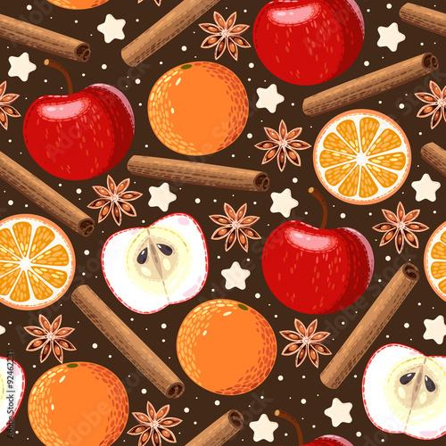 Cotton fabric Seamless apple and orange