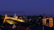 Leinwandbild Motiv Esslingen bei Nacht mit Burg und Stadtkirche St. Dionys