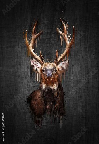 deer-on-dark-background-paint-effect