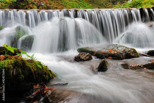 Plakat Autumn forest waterfall