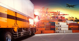 container truck in shipping port ,container dock and freight car - 92487411