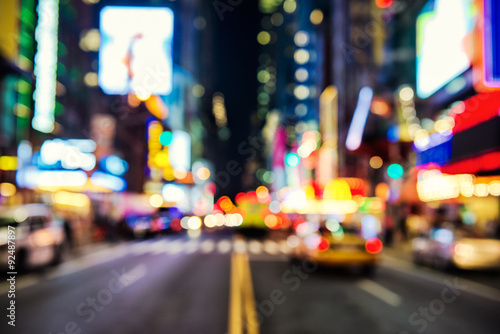 Papiers peints New York TAXI Blurred street llumination and night lights of New York City