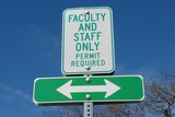 Green Faculty and Staff Only Sign