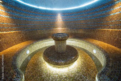 Turkish sauna interior hammam room tiled water hot bath Poster