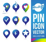 Map Pins Icon Pictogram logos / Location Pins Cartography Map Pin  poster