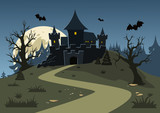Halloween haunted castle, trees, bats, and a full moon. Vector illustration